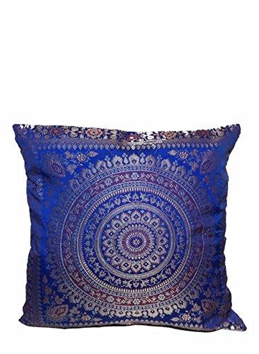 ganesham Kunsthandwerk indischen ethnischen Hand Dekorative Mandala Design Seide handgefertigt Banarsi Brokat Sofa Sitzkissen Outdoor, Boho Chic böhmischen Kissen Cover 40,6x 40,6cm (40x 40) cm