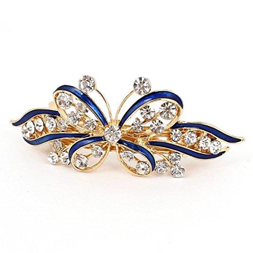 Damen Schmetterlings-Stil Haarspange - TOOGOO(R) Damen Schleife Glaenzend Kristallstein Dekor franzoesisch Haarspange Clip Klammer Blau+Gold