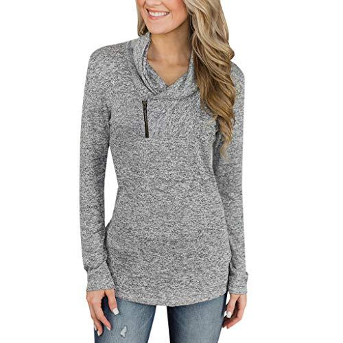 iHENGH Damen Top Bluse Lässig Mode T-Shirt Frühling Sommer Frauen Bequem Blusen Womens Langarm Sweatshirt Zipper Pullover trägerlose (Grau, ()