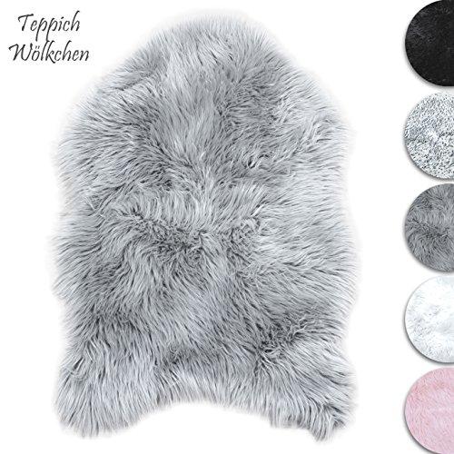 Lammfell-Teppich Grau Kunstfell Schaffell Imitat | Wohnzimmer Schlafzimmer Kinderzimmer | Als Faux Bett-Vorleger oder Matte für Stuhl Sofa
