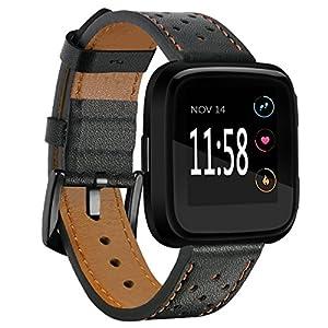 Aresh für Fitbit Versa Armband Leder Fitbit Versa Echtes Leder Ersatzband mit schwarzem Edelstahl Schnalle Zubehör Armband Gurt für Fitbit Versa SmartWatch
