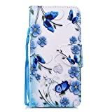 Huawei Mate 10 Lite Hülle, Chreey PU Leder Schutzhülle mit Blau Schmetterling Muster Bumper Flip Wallet Case Handyhülle