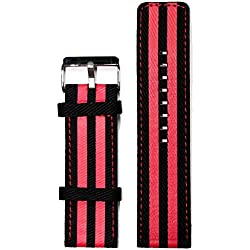 26mm Black With Red Faux Leather Ladies Watch Band Straps