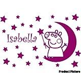 Peppa Pig mit Ihrem gewählten Namen 60cm x 40cm Farbe Wählen 18Farben auf Lager Mond, Sterne, personalisierbar, Name, jeder Name, Childs Schlafzimmer, Kinder Zimmer Aufkleber, Auto Vinyl-, Windows und Wandtattoo, Wall Windows Art, Decals, Ornament Vinyl Aufkleber 4printer himbeere