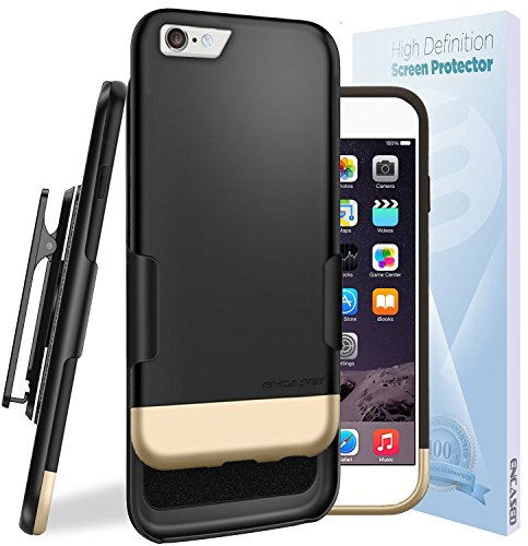 iPhone 6S Ultra Slim [CASE & CLIP Combo] Soft-touch Slider Shell + Belt Clip Holster (Includes HD Screen Guard) Encased® Lifetime Warranty (Gray/Black) Black/Gold