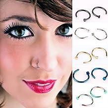 Distinct® 5pcs del acero inoxidable del labio del oído, nariz abierto del aro del anillo del pendiente piercing del cuerpo Clavos