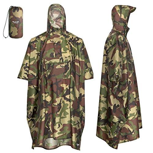 AWHA Regenponcho Camouflage/Unisex - der extra Lange Regenschutz mit Reißverschluss und Brusttasche