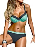 AHOOME Damen Bikini Push Up Gepolstert Streifen rayures Triangel Brasilianische Bademode Bikini-Sets(Grün-2,XL)