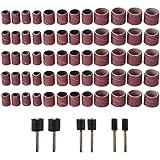 66 Pcs 80Grit kit de sablage de tambour 1/2 3/8 1/4 pouce Mandrins de sable Fit Dremel outil de perçage Outils rotatifs