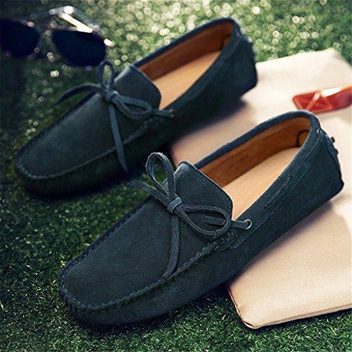 SGoodshoes Homme Confort Flâneur Cuir Conduire Voiture Mocassins Chaussures Bateau Vert