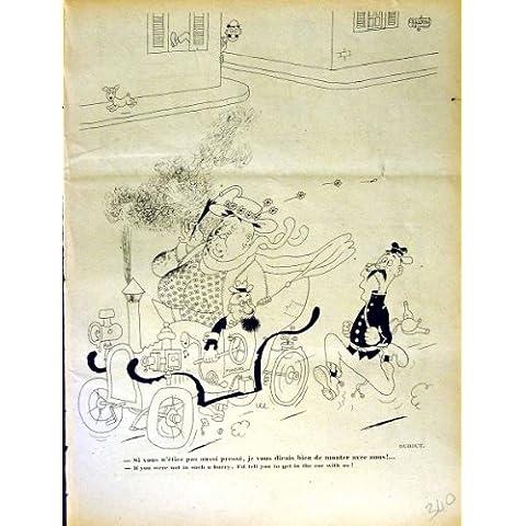 Impresión Antigua del Coche Grande de Littlle del Hombre de la Revista del Humor de Le Rire French