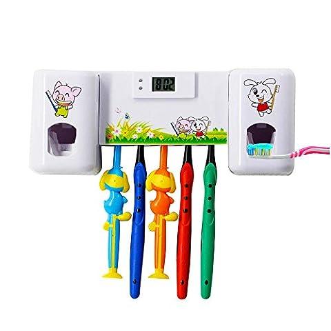 Distributeur automatique de dentifrice avec 5 kits de brosse à dents et brosse à dents libre Minuteur pour adultes Enfants Douche Salle de bain salle de bain Eau Utilisation