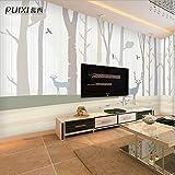 Sijoo Modernes minimalistisches Tapetenschlafzimmer Fernsehwandpapier nordische Elche handgemaltes Silk Stoffwandbild der Hintergrundwand-250cm(w) x 175cm(h)