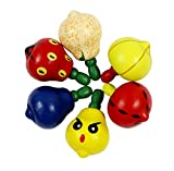 Ranvi Toddlers Educational Toys Wood Handmade Fruit Shape Spinning Top Fruit Shape Gyro,6 PCS, Random Colour