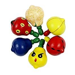 Ranvi oddlers giocattoli educativi in legno fatti a mano forma di frutta trottola giroscopio a forma di frutta, 6 pezzi, colore casuale