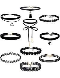 Yidarton 10 PCS Choker Necklace Stretch Elastic Velvet Lace Choker Necklaces
