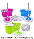 #5: Easy Magic Floor Mop 360° Bucket 2 Heads Microfiber Spin Spinning Rotating Head (Color May Vary)