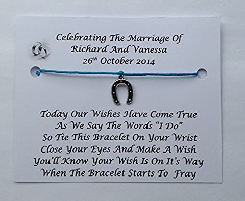 10 x Personalised Wedding Day Wish Bracelets Favours/Gifts, Table Favours For Your Guests (Blue)