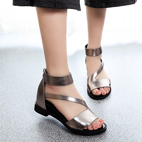 Damen Sandalen Peep-toe Reißverschluss Flache Modische Bequeme Tragen Anti-Rutsche Einfache Römische Stil Schuhe RI