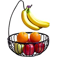 AYMAZE Fruit Bowl with Removable Banana Hanger, Black