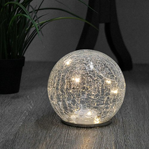 Lámpara de mesa 12x h11,5cm bola de cristal (Incluye 10LED Luz