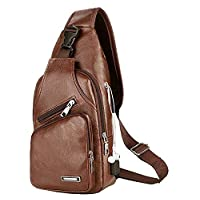 Men's Leather Sling Bag,Chest Shoulder Backpack, Water waterproof Crossbody Bag with USB Charging Port for Travel, Hiking,Cycling (Browm)