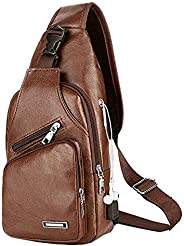 Men's Leather Sling Bag,Chest Shoulder Backpack, Water waterproof Crossbody Bag with USB Charging Port for
