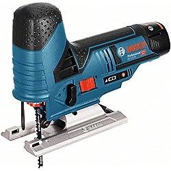 Bosch Professional GST 12V-70 Akku-Stichsäge (2x2, 5 Ah Akku, 2 Sägeblätter, 70mm Schnitttiefe (Holz), 1, 5 kg inkl. Akku, 12 V, L-BOXX) 06015A1003