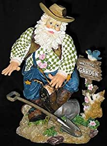 Retraité cadeau Link Superbe Figurine de Père Noël agriculteur jardinage animaux W
