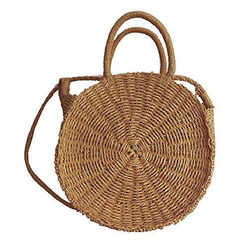 Gorgebuy Bolso tejido de la playa al aire libre playa paja trenzada hecha a mano de doble propósito bolsa de viaje bolso de la honda bolso de Crossbody