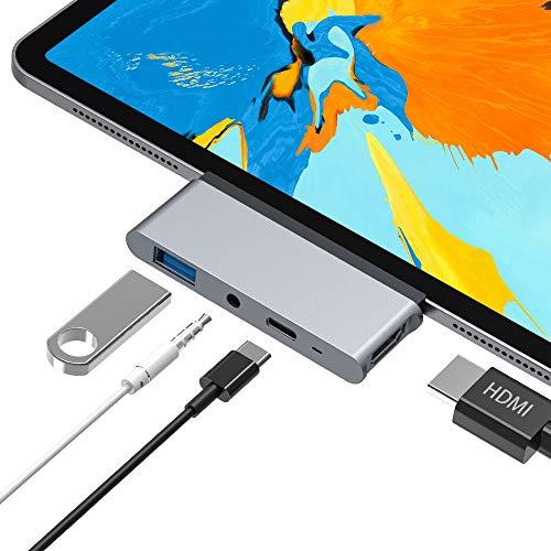 Foto Hub USB C, Adattatore 4 in 1 Tipo C con HDMI 4K, USB 3.0, Jack Audio da 3,5...