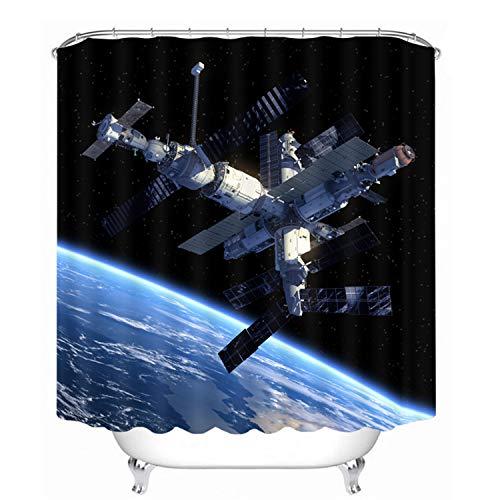 Chickwin Black Holes Tende da Doccia Antimuffa Impermeabile, Universo Spazio 3D Digitale Stampato Moderne Poliestere Resistente Tessuto Lavabile Tenda della Vasca da Bagno con 12 Ganci (180x180cm,F)