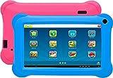 Denver Tablet-PC 'TAQ-70352' (Kido'z Software, 1GB RAM, Android 8.1), Schwarz mit 2 Bumpern Pink & Blue