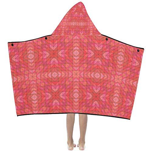 Toallas de baño para niños Para niñas Triángulo Mosaico Patrón rojo Espejo Simétrico...