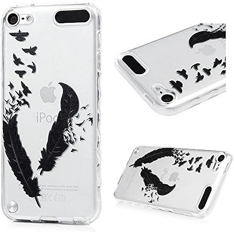 Cover ipod Touch 6 Custodia Silicone TPU verniciata, Badalink Case Colore Modello Design,uccelli piuma