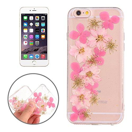Easy go shopping custodia protettiva in tpu trasparente rigata con fiore reale essiccato a gocciolamento epossidico per iphone 6 e 6s (sku : ip6g2996l)