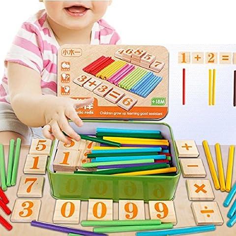 Tongshi El niño embroma Números de madera Matemáticas Aprendizaje Temprano Contando juguete