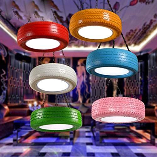 Pneumatici appesi lampada Retro vento industriale lampada a pendolo catena Altezza Lampade a sospensione camere ristorante LED regolabili Chandelier Creative decorativi (una luce), Rosso