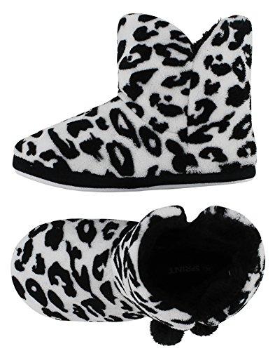 Kuschelige Damen Hüttenschuhe Hausstiefel Plüsch mit Muster und Bommel - in den Farben: Zebra, Tiger, Leopard - Größe: 36-41 - von Brandsseller Leopard