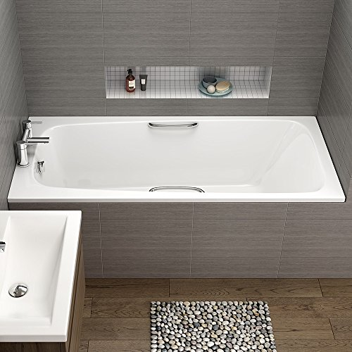 1700 mm Round Single Ended Bath Modern Straight White Bathtub with Handles