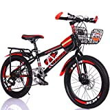 Bike 7 Velocidad Bicicletas Infantiles de Montaña 18pulgada 20pulgada Bici,Niño y Niña BMX Freestyle, Red_1,18inch