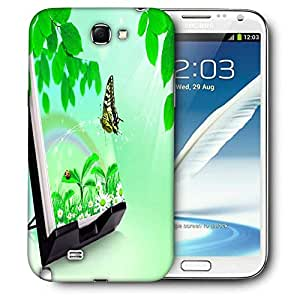 Snoogg Nature Butterfly Printed Protective Phone Back Case Cover For Samsung Galaxy Note 2 / Note II