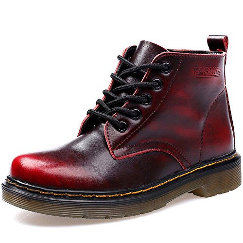 JACKSHIBO Damen Herren Klassischer Leder Knöchel Stiefel Boots Winter Warme Gefüttert Stiefeletten Schneestiefel,Rot-2/High-Top,EU 39=Fußlänge 230 MM,(China 245,1.5) (Top Booty Shorts)