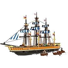 Ausini - Juego de bloques construcción Barco Piratas pesca - 857 piezas (ColorBaby 42857)