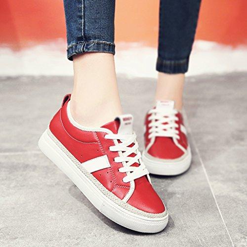 HWF Scarpe donna Spring Plate Flat Shoes Studente Scarpe da donna Bianco Femmina ( Colore : White Red , dimensioni : 40 ) Rosso