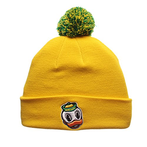 Zephyr Cuff Beanie Hat mit Pom Pom - NCAA Cuffed Winter Knit Toque Gap, Herren unisex damen, Oregon Ducks - Yellow (Ncaa Beanies Mit Pom)