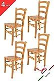 Tommychairs - 4er Set Stühle Venice für Küche und Esszimmer, Robuste Struktur aus lackiertem Buchenholz im Farbton Honig und Sitzfläche aus Holz. Set Bestehend aus 4 Stühlen Venice