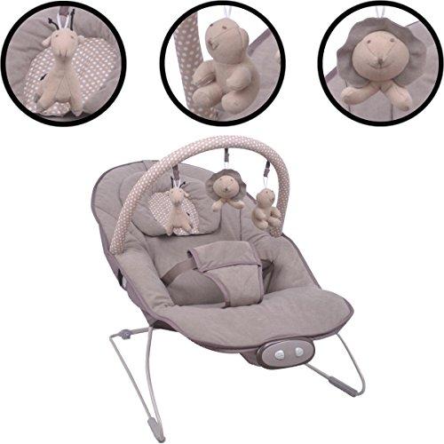 *Babywippe/Babywiege/Babyschaukel (Inklusive Spielbogen mit 3 Figuren) + Vibrationsfunktion & Musikfunktion (12 Melodien) (HELLBRAUN)*