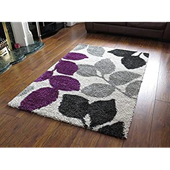 aspect 120 x 170 cm modern leaf rug collection plum