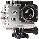 JIUSION Sliver, Cam Only: 1080P Full HD Video Action Sport Mini Camera Waterproof Case DV Water Resistant Cam Underwater Diving 5MP Lens Camcorder